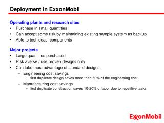 Deployment in ExxonMobil