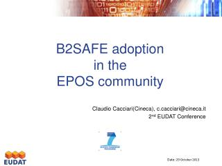 B2SAFE adoption in the  EPOS community