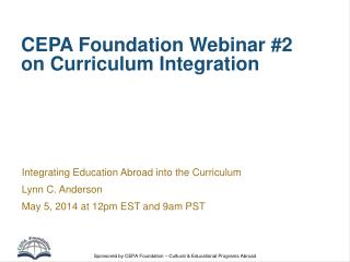 CEPA Foundation Webinar #2 on Curriculum Integration