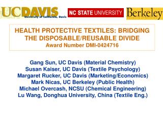 HEALTH PROTECTIVE TEXTILES: BRIDGING THE DISPOSABLE/REUSABLE DIVIDE Award Number DMI-0424716