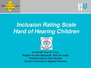 Inclusion Rating Scale  Hard of Hearing Children