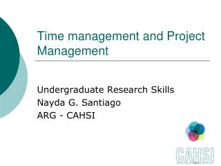 Time management and Project Management