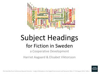 Subject Headings for Fiction in Sweden