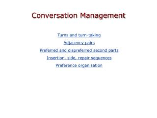 Conversation Management