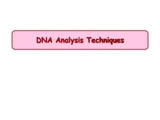 DNA Analysis Techniques