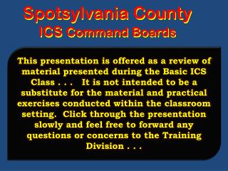 Spotsylvania County ICS Command Boards