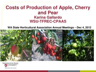 Costs of Production of Apple, Cherry and Pear  Karina Gallardo WSU-TFREC-CPAAS