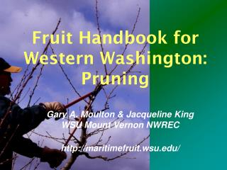 Fruit Handbook for Western Washington: Pruning