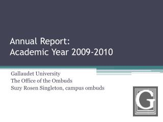 Annual Report:  Academic Year 2009-2010