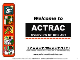 OCCUPATIONAL HEALTH, SAFETY FIRST-AID & FIRE TRAINER'S KITS safetyhealthtraining