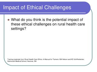 Impact of Ethical Challenges