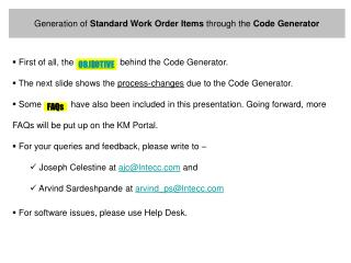 Generation of  Standard Work Order Items  through the  Code Generator