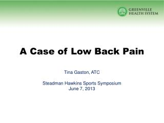 A Case of Low Back Pain
