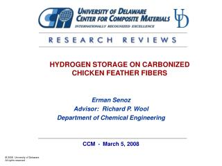 HYDROGEN STORAGE ON CARBONIZED CHICKEN FEATHER FIBERS