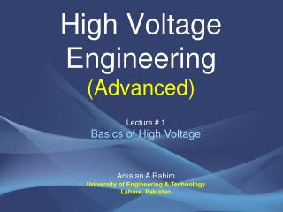 High Voltage Engineering  (Advanced)