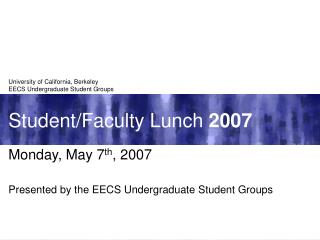 Student/Faculty Lunch  2007
