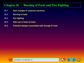 Chapter 26	Burning of Fuels and Fire Fighting