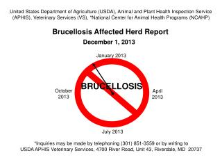 Brucellosis Affected Herd Report