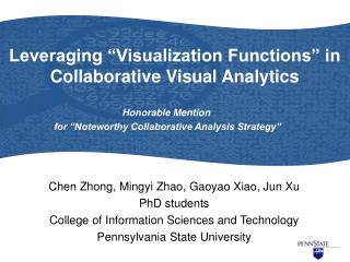 "Leveraging ""Visualization Functions"" in Collaborative Visual Analytics"