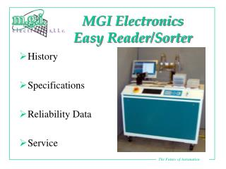 MGI Electronics  Easy Reader/Sorter