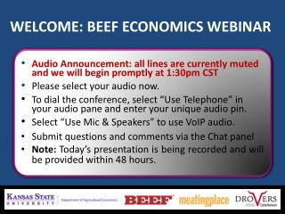 WELCOME: BEEF ECONOMICS WEBINAR