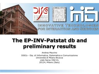 The EP-INV- Patstat  db and preliminary results
