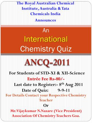 An International  Chemistry Quiz