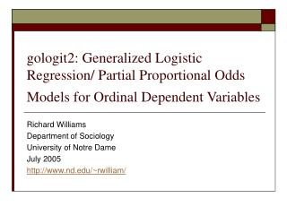 gologit2: Generalized Logistic Regression/ Partial Proportional Odds Models for Ordinal Dependent Variables