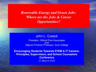 Renewable Energy and Green Jobs: Where are the Jobs & Career   Opportunities?
