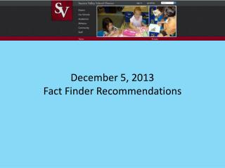 December 5, 2013 Fact Finder Recommendations