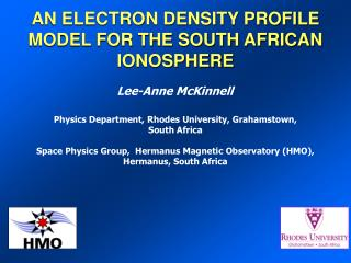 AN ELECTRON DENSITY PROFILE MODEL FOR THE SOUTH AFRICAN IONOSPHERE