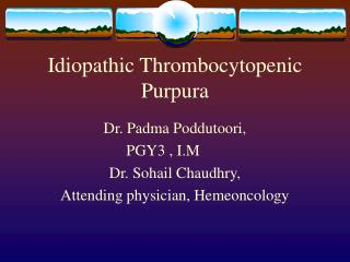 Idiopathic Thrombocytopenic Purpura