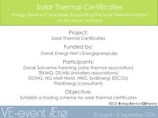 Solar Thermal Certificates Energy Service Companies Supporting the Solar Thermal Market