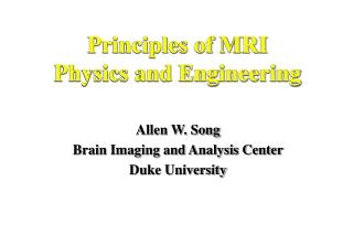 Principles of MRI  Physics and Engineering