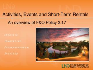 Activities, Events and Short-Term Rentals
