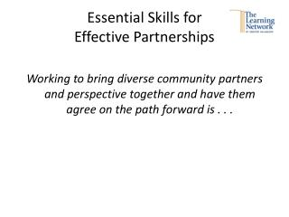 Essential Skills for  Effective Partnerships