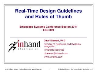 Real-Time Design Guidelines and Rules of Thumb Embedded Systems Conference Boston 2011 ESC-309