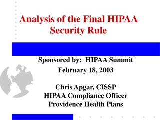 Analysis of the Final HIPAA Security Rule