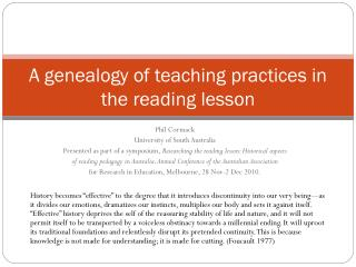 A genealogy of teaching practices in the reading lesson