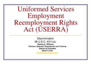 Uniformed Services Employment Reemployment Rights Act (USERRA)