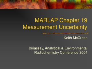 MARLAP Chapter 19 Measurement Uncertainty