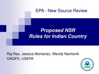 Proposed NSR  Rules for Indian Country