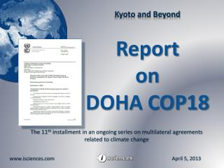 The  11 th installment in an ongoing series on multilateral agreements related to climate change