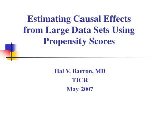 Estimating Causal Effects from Large Data Sets Using Propensity Scores