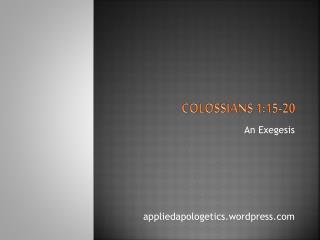 Colossians 1:15-20