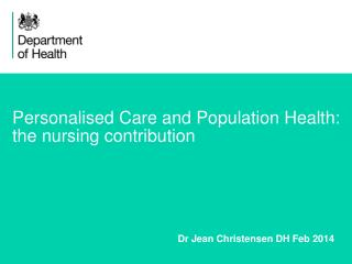 Personalised Care and Population Health:  the nursing contribution