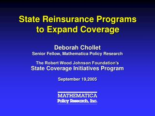 State Reinsurance Programs to Expand Coverage