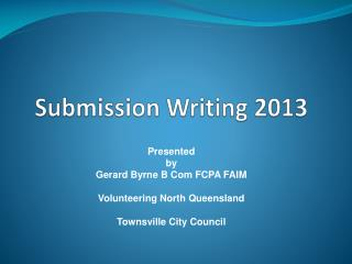 Submission Writing 2013