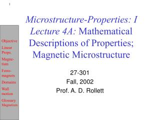 Microstructure-Properties: I Lecture 4A:  Mathematical Descriptions of Properties; Magnetic Microstructure