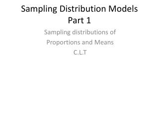 Sampling Distribution Models Part 1